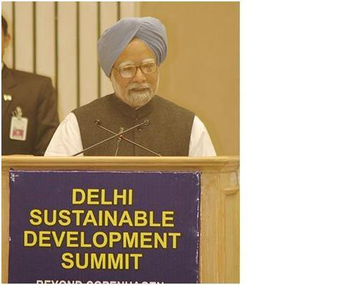 Prime Minister Singh at Sustainable Development Summit.  Photo Compliments of TERI.
