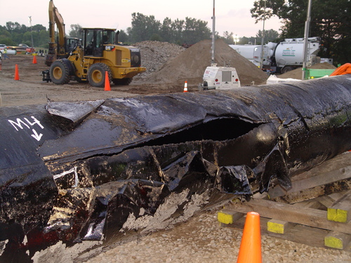 Section of pipe from Kalamazoo spill c National Transportation Safety Board.jpg