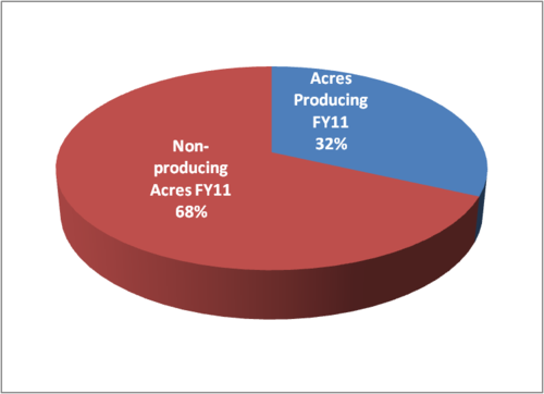 Thumbnail image for Acres Producing vs Non Producing Acres FY2011.png