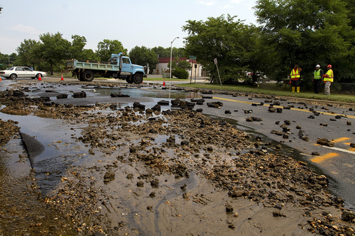 Water Main Break - road rubble