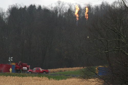 Gas flaring in rural Dimock.  As part of fracking operations gas is flared constantly, and the sound is similar to that of a highway.jpg