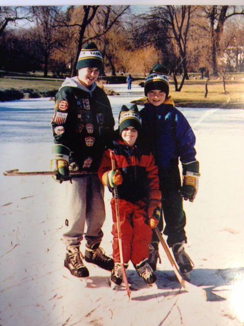 Brothers on Pond.JPG