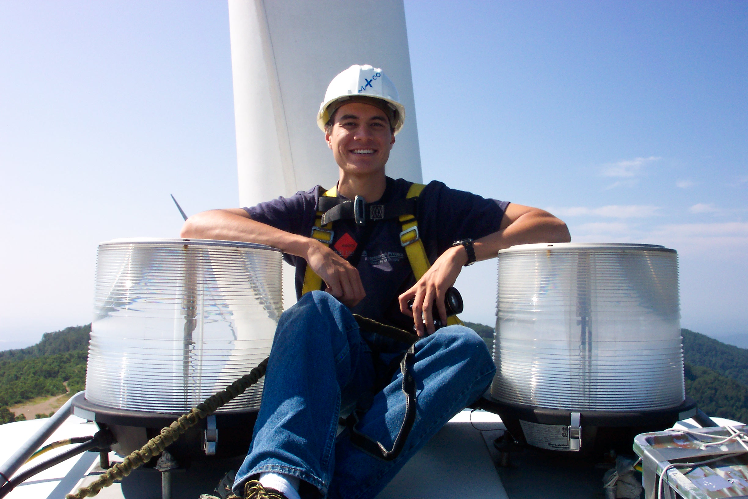 Yours truly on the top of the nacelle of the wind turbine