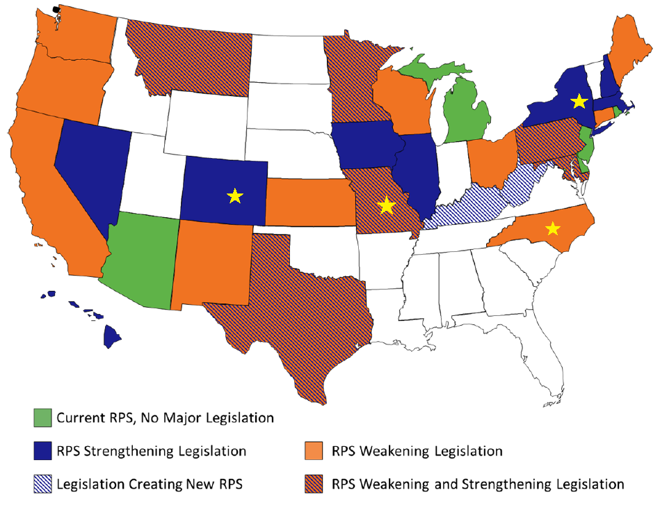 US States 2013 RPS legislative activity map (Barnes, J. 2013)