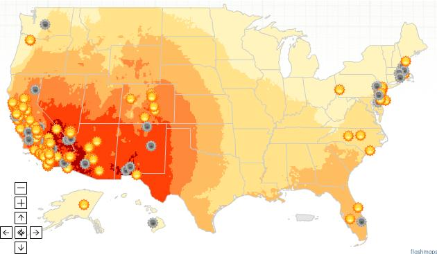 Screenshot of Renewables for America solar potential and facilities