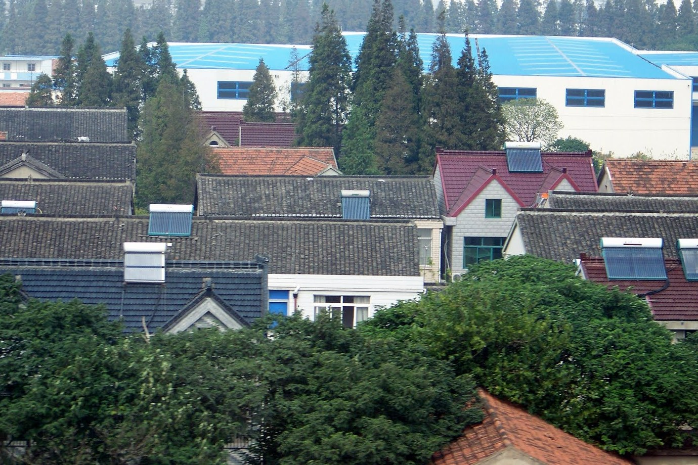 Solar thermal evacuated tubes on numerous homes in Shanghai, China