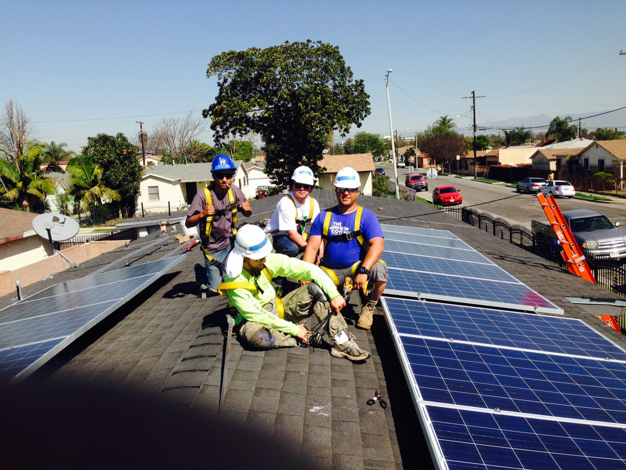 Veterans installing solar on a rooftop in Southern California