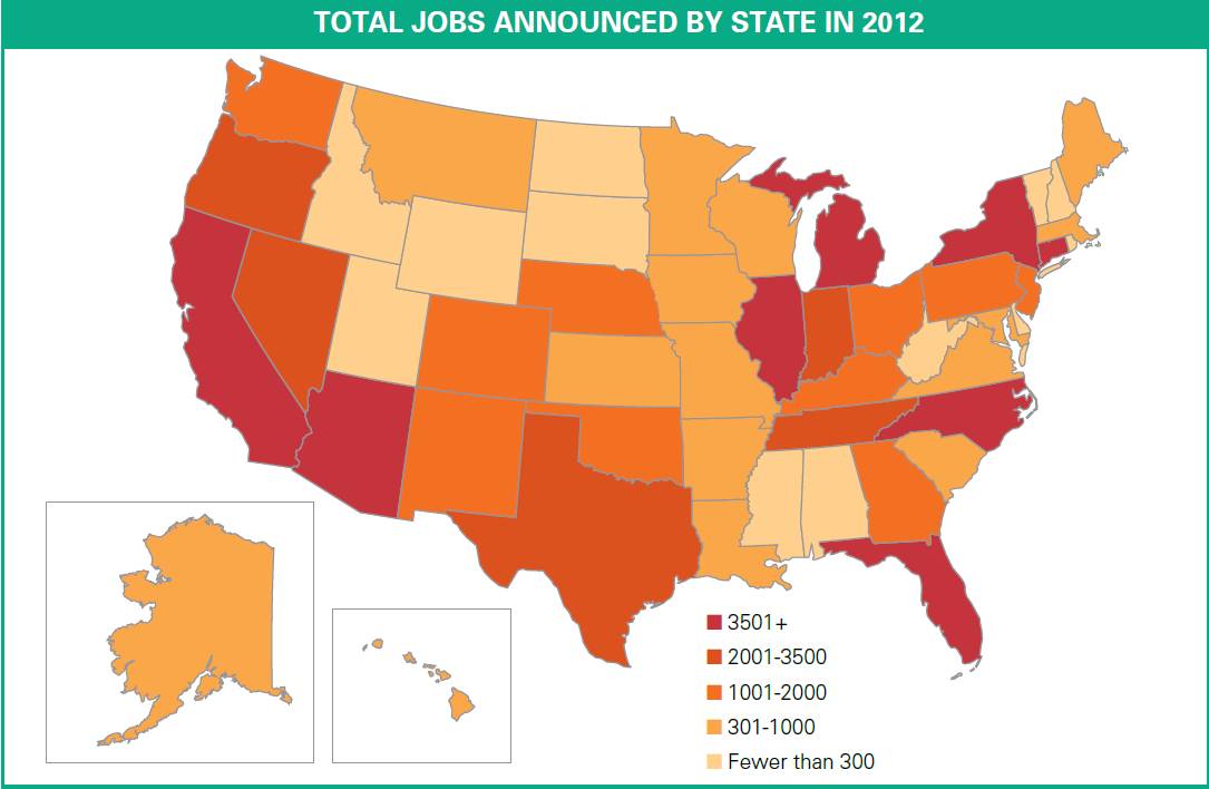Total Clean Jobs Tracked By E2 in 2012