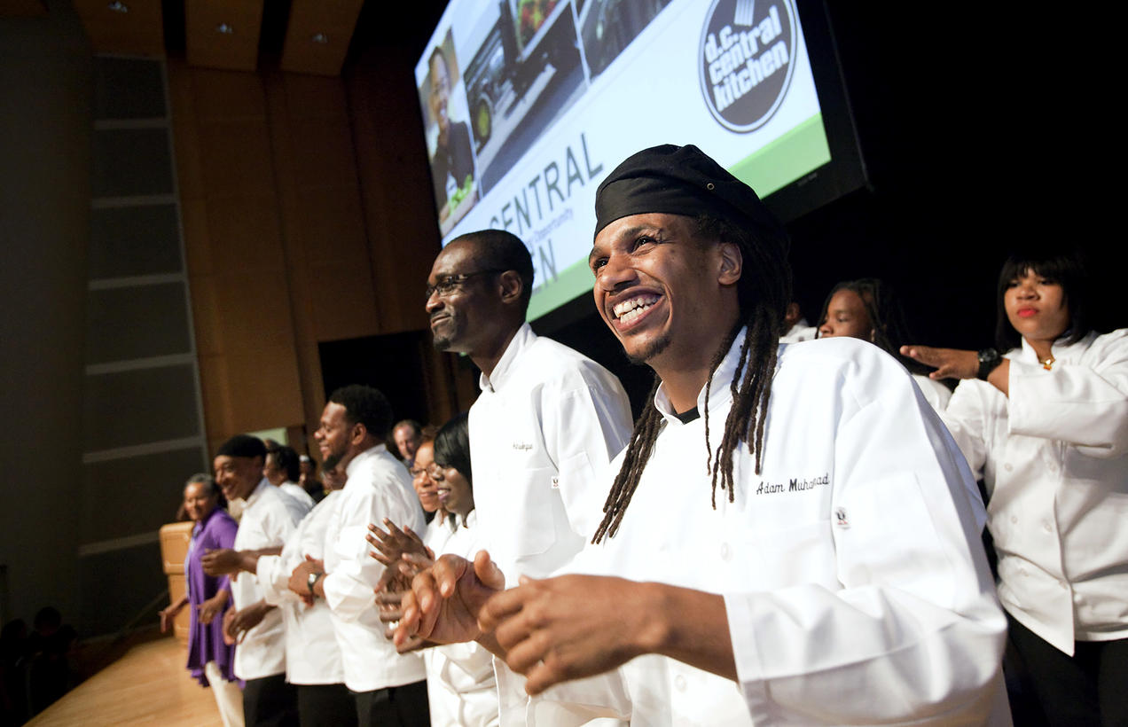students celebrate at a ceremony marking the milestone 100th graduation for dc central kitchens culinary job training program - Dc Central Kitchen