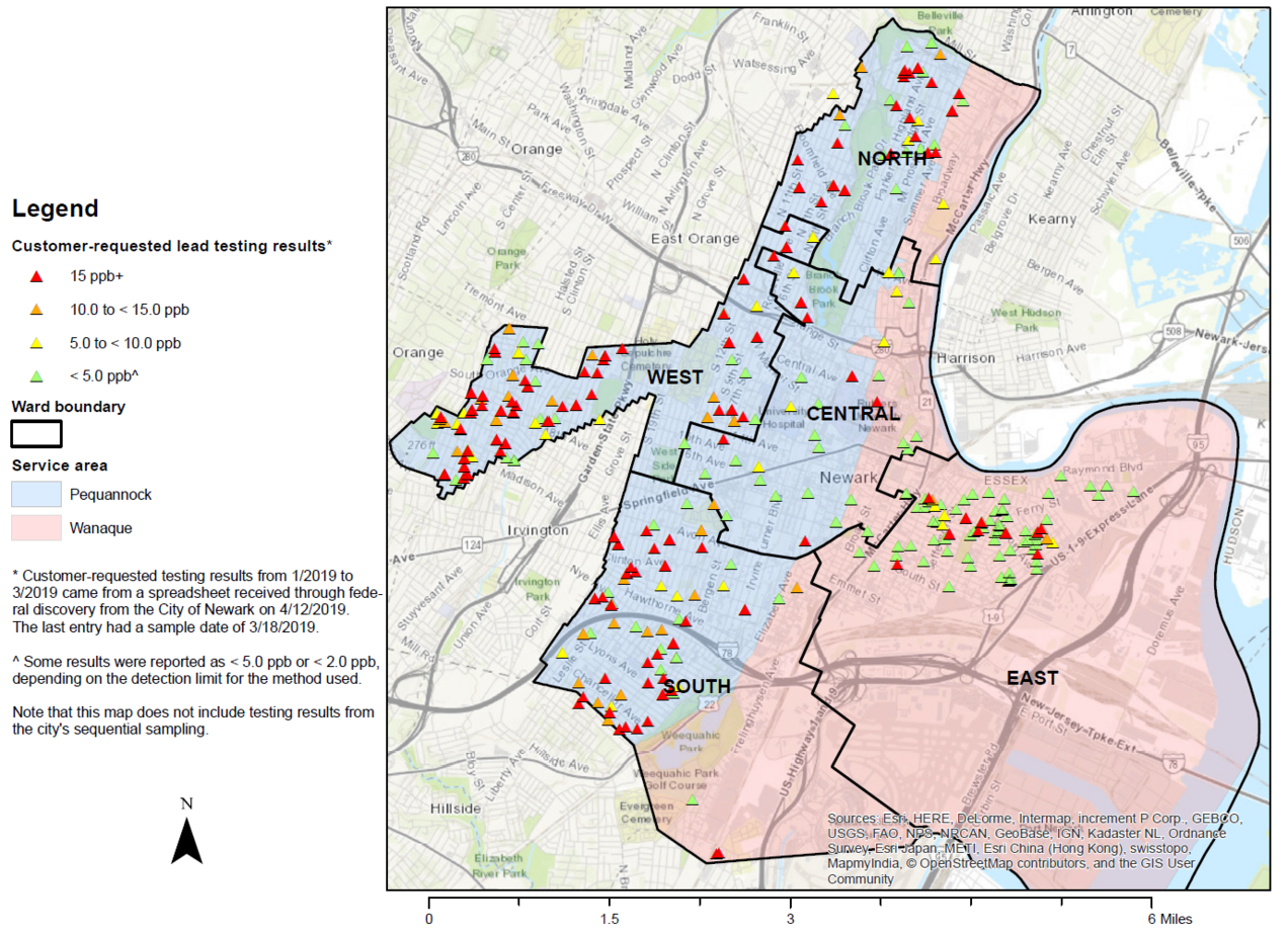 City of Newark, NJ – Residential Sampling Results for Lead in Drinking Water, January – March 2019/NRDC