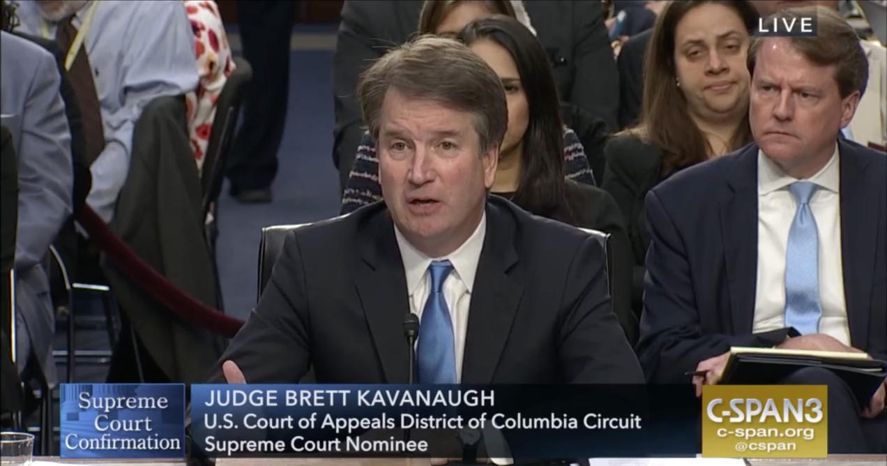 Image result for photos of kavanaugh at his confirmation hearings