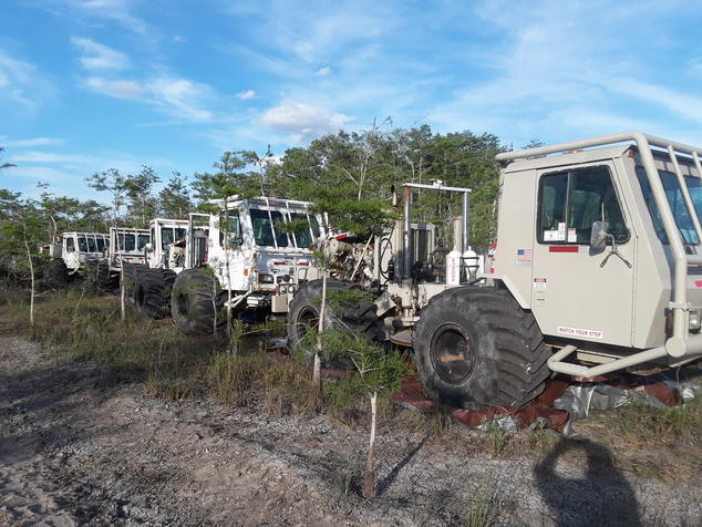 Vibroseis vehicles in Big Cypress National Preserve