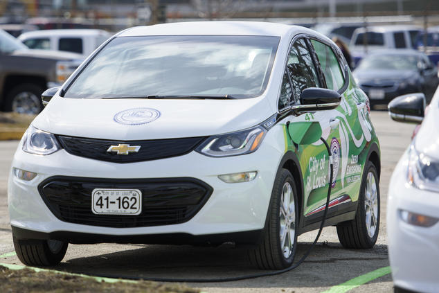 One of the City of St. Louis' four new zero-emission, battery-electric Chevrolet Bolts