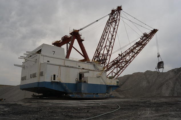 Coal being mined on federal lands in the Powder River Basin in Wyoming