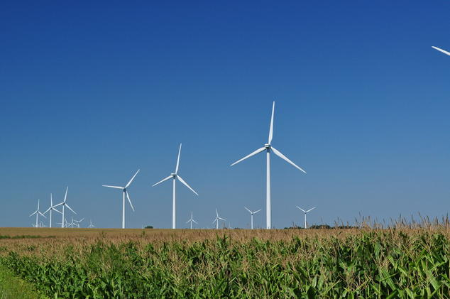 Wind turbines near an Illinois cornfield