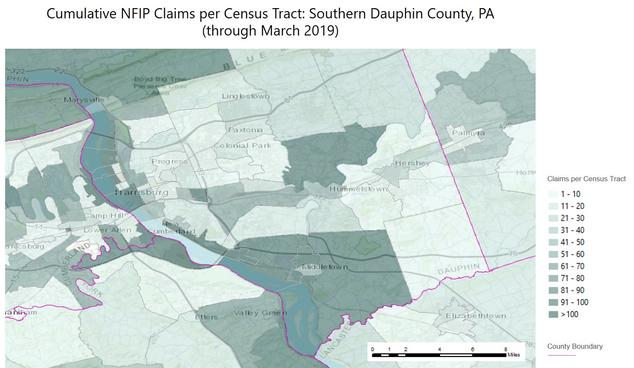 Cumulative NFIP claims per census tract in southern Dauphin County, Pennsylvania, through March 2019. Municipalities shown include Harrisburg, Middletown, Hummelstown, and Hershey.