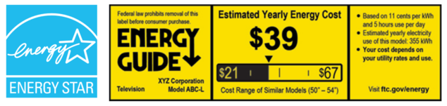 Energy Star logo and TV Energy Guide label