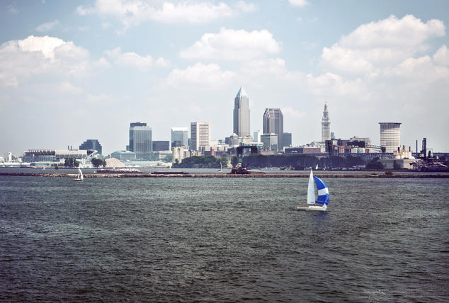 Sailing Lake Erie with a view of Cleveland