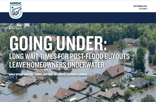 Cover of the Going Under report, which shows an image of homes in a flooded neighborhood.