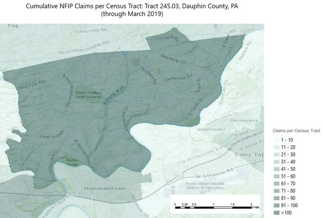 Cumulative NFIP claims per Census tract: Tract 245.03, Dauphin County, PA, as of March 2019.