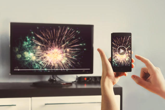 Casting from cell phone to TV - fireworks