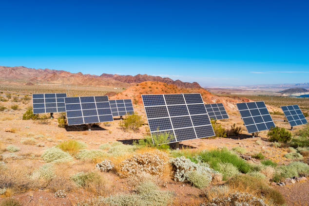 Solar panels and desert landscape in the Lake Mead National Recreation Area in Nevada