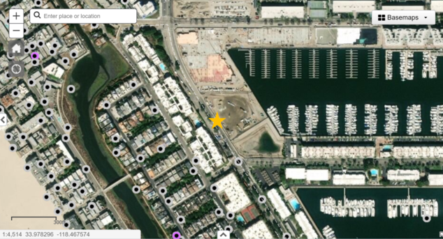 Location of the DOW R.G.C. 10 well in Marina del Rey, which experienced a blowout on January 11