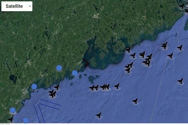 Right whale sightings map