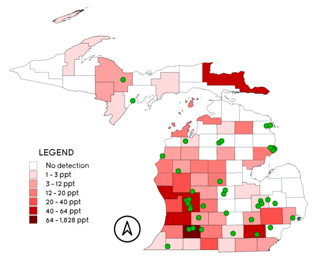 PFAS Contaminated Public Water Supplies and Sites in Michigan