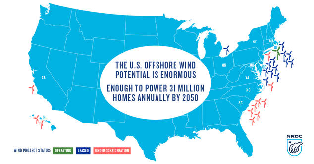Made In America First US Offshore Wind Project Now Online NRDC - Map Of The Wind Farms In The Us