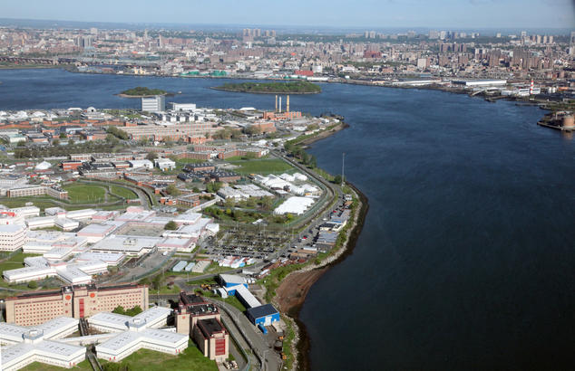 Aerial view of the Rikers Island jail complex, located in the East River between Queens and the Bronx in New York City