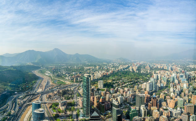 An aerial view of Santiago, Chile.