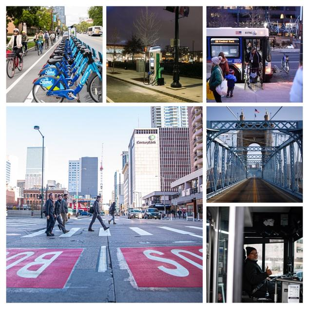 Collage of Transportation Images including bus driver, bridge, bicyclists, and an EV charger.