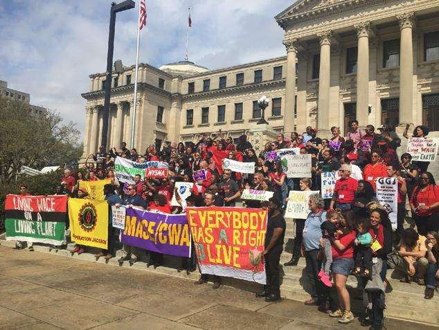 Environmental activists at a rally in support of unions in Jackson, MS