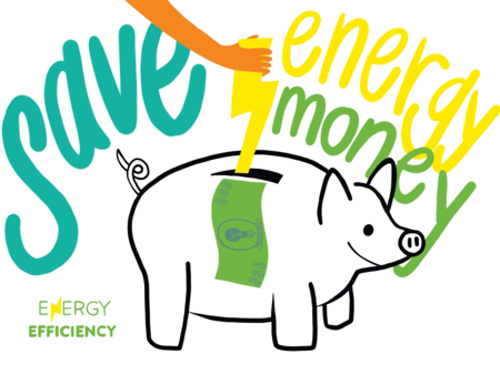 Illustration of piggy bank for money and energy savings from efficiency