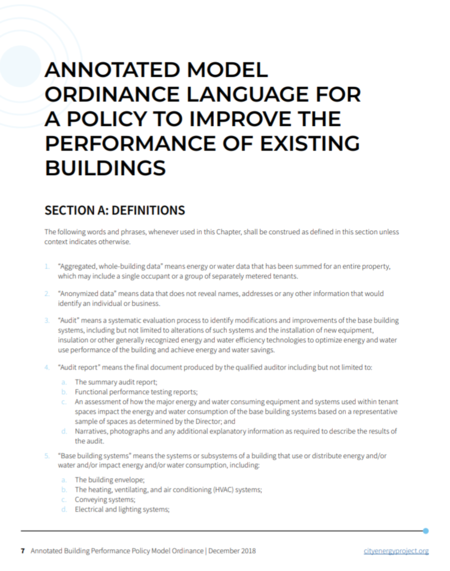 Model Building Performance Ordinance (Annotated)