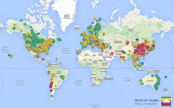 Air Quality World Map Breathing by Numbers | NRDC